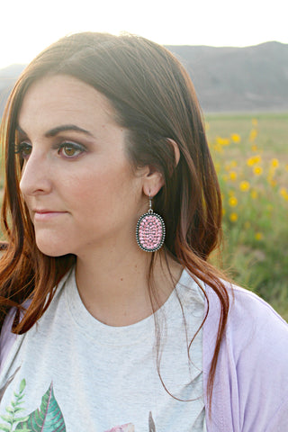 Oval Pink Rhinestone Earrings - Jourdan's Jewels