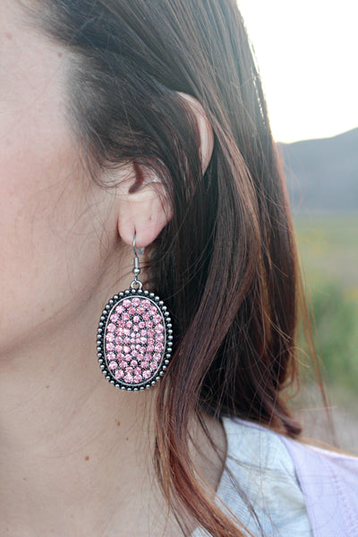 Oval Pink Rhinestone Earrings