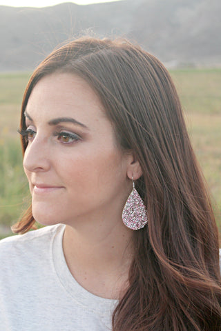 Pink Sparkly Teardrop Earrings - Jourdan's Jewels