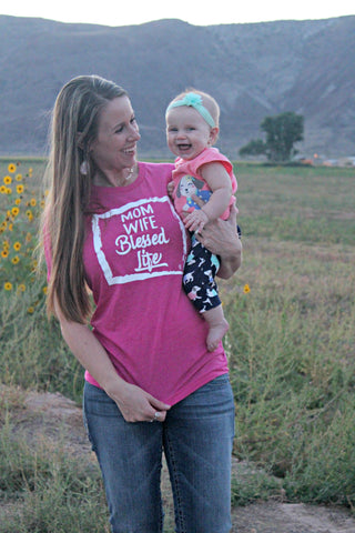 Mom, Wife, Blessed Life Tee - Magenta - Jourdan's Jewels