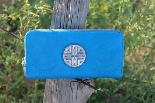 Bright Blue Zip Around Wallet - Jourdan's Jewels