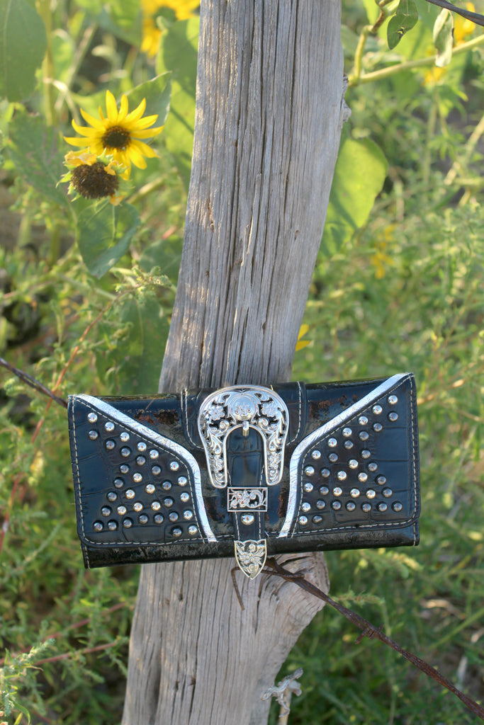 Black Buckle Trifold Wallet - Jourdan's Jewels