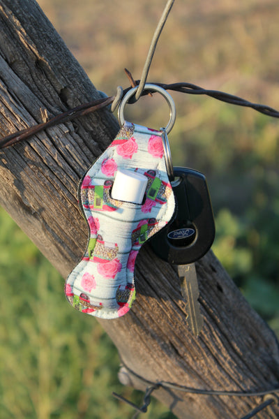 Camper and Rose Chapstick Holder Key Chain - Jourdan's Jewels