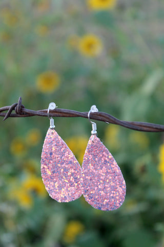 Canvas Teardrop Earrings - Light Pink Glitter - Jourdan's Jewels