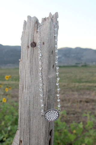 Beaded Rhinestone Choker Necklace - Clear - Jourdan's Jewels