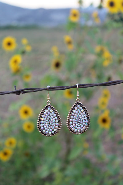 Gold Teardrop AB Rhinestone Earrings - Jourdan's Jewels