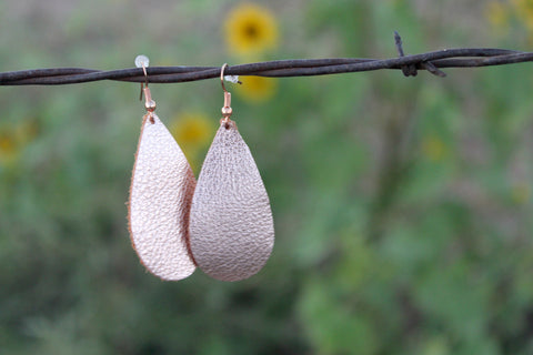 Leather Teardrop Earrings - Rose Gold - Jourdan's Jewels