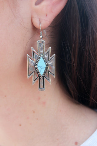 Silver and Turquoise Aztec Earrings - Jourdan's Jewels