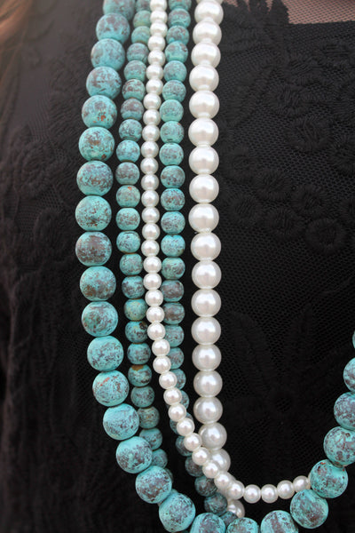 5 Strand Turquoise Patina and Pearl Necklace Set - Jourdan's Jewels