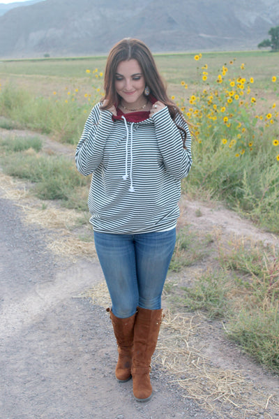 Black and White Stripes with Burgundy Double Hoodie - Jourdan's Jewels