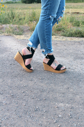 Maggie Cork Wedges - Black - Jourdan's Jewels