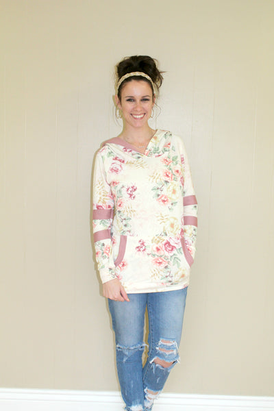 Sporty Floral Hoodie with Striped Arms - MEDIUM - Jourdan's Jewels