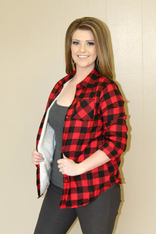 Red and Black Lined Buffalo Plaid Jacket - SMALL - Jourdan's Jewels