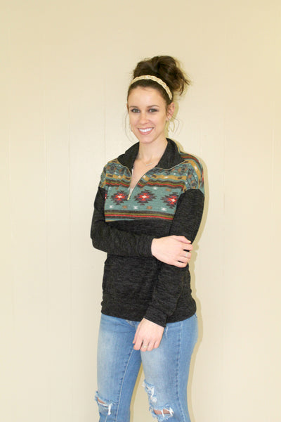 Teal Aztec Pullover Sweater
