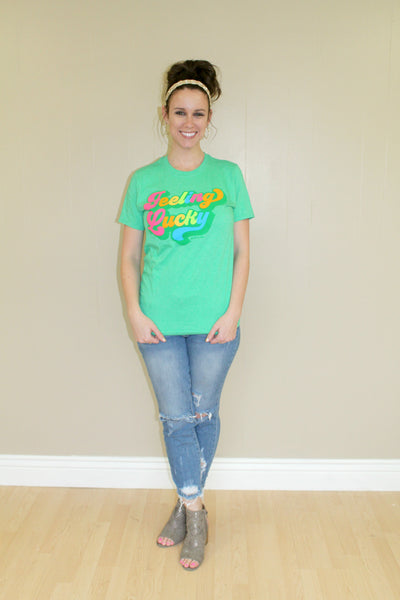 Feeling Lucky Green Tee - SMALL - Jourdan's Jewels