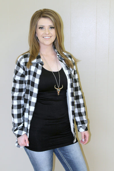 Black and White Lined Buffalo Plaid Jacket - Jourdan's Jewels