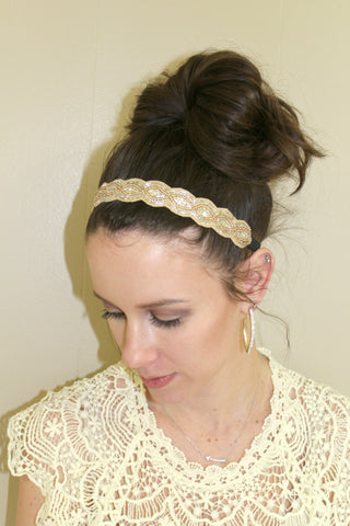 Gold Beaded Headband - Jourdan's Jewels