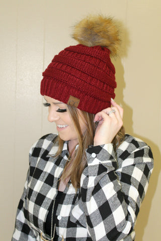 CC Furry Pom Beanie - Burgundy - Jourdan's Jewels