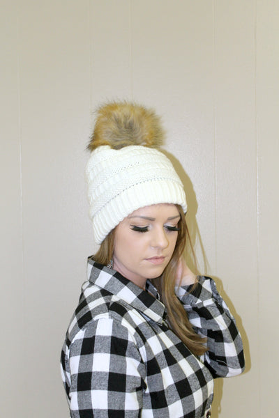 CC Furry Pom Beanie - Ivory - Jourdan's Jewels