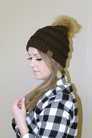 CC Furry Pom Beanie - Brown - Jourdan's Jewels