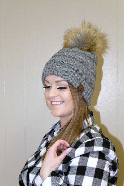 CC Furry Pom Beanie - Grey - Jourdan's Jewels