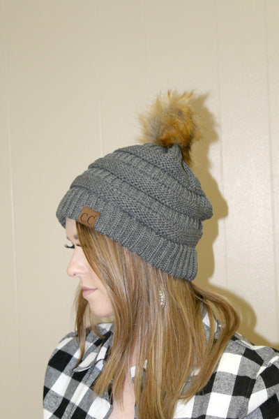 CC Furry Pom Beanie - Charcoal - Jourdan's Jewels