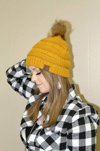 CC Furry Pom Beanie - Mustard - Jourdan's Jewels