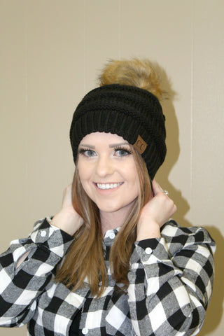 CC Furry Pom Beanie - Black - Jourdan's Jewels