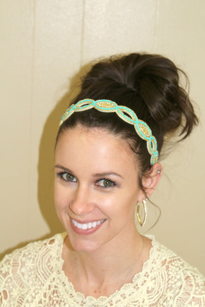 Mint and Gold Beaded Headband - Jourdan's Jewels