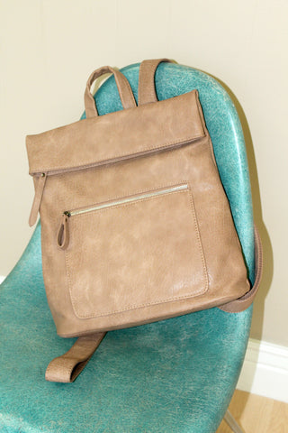 Tan Foldover Backpack