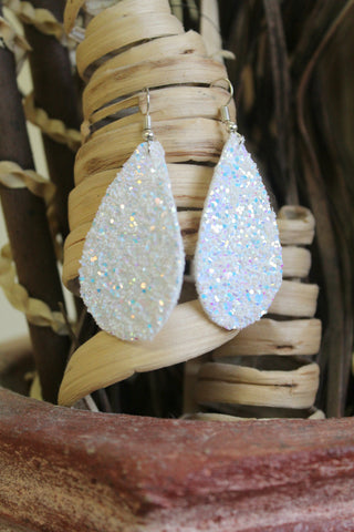 Canvas Teardrop Earrings - White Glitter - Jourdan's Jewels