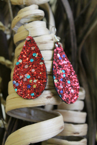 Canvas Teardrop Earrings - Red Christmas Glitter - Jourdan's Jewels