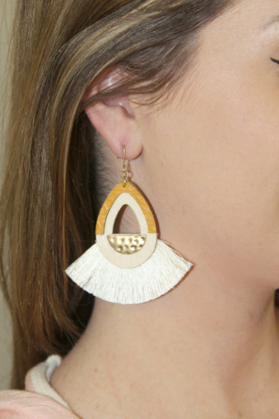 Ivory Fringe Statement Earrings - Jourdan's Jewels