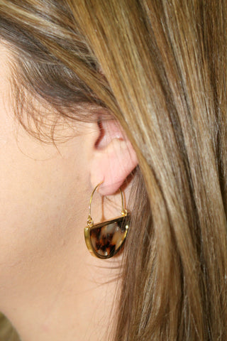 Tortoise and Gold Dangle Earrings