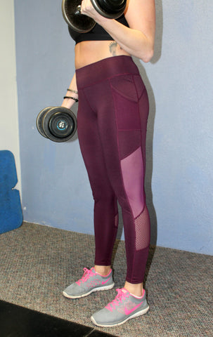 f61bc489618d2b Full Length Plum Workout Leggings with Mesh Panels & Pockets - Jourdan's  Jewels