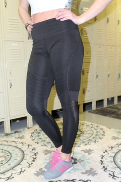 Black Moto Workout Leggings