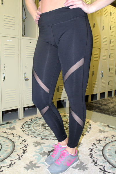 Black Athletic Mesh Leggings - SMALL - Jourdan's Jewels