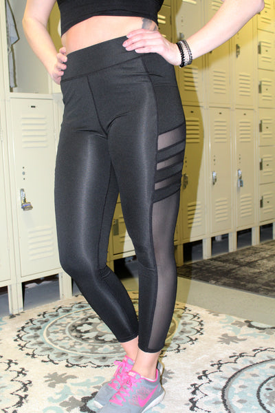 Black Workout Full Length Leggings with Mesh Panels & Pockets - Jourdan's Jewels