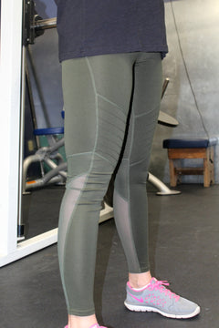 Olive Moto Workout Leggings