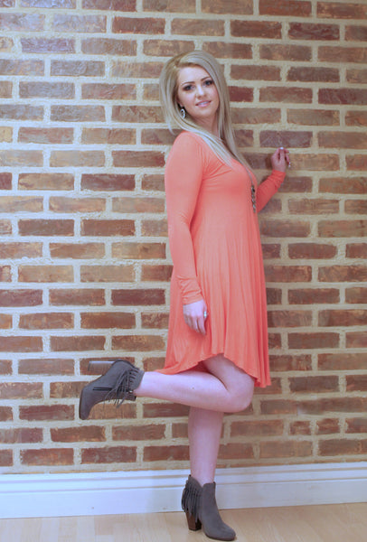 Coral Long Sleeve Dress