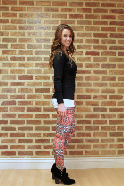 Red Paisley Leggings - Jourdan's Jewels