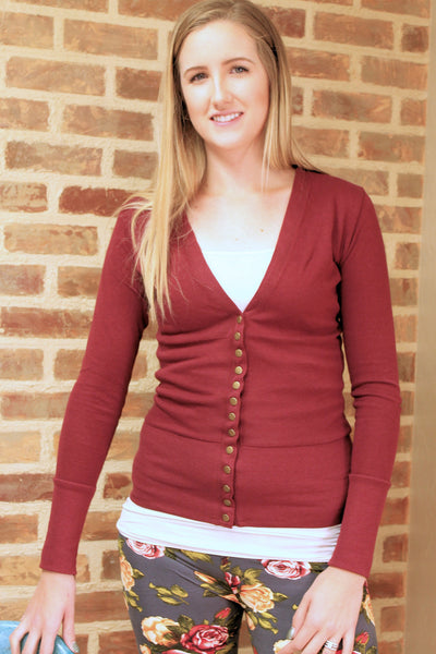 Snap Cardigan - Burgundy