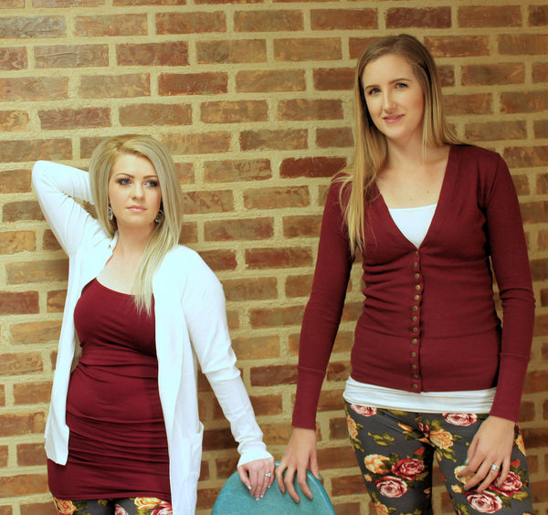 Snap Cardigan - Burgundy - Jourdan's Jewels
