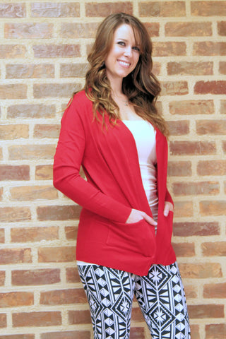 Pocket Cardigan - Red