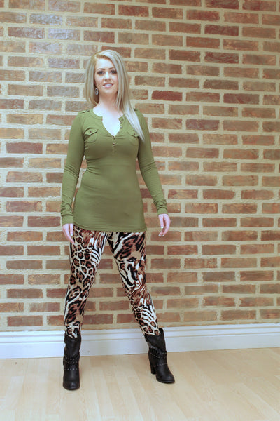 Samie Henley Top - Army Green - Jourdan's Jewels