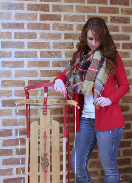 Pocket Cardigan - Red - Jourdan's Jewels