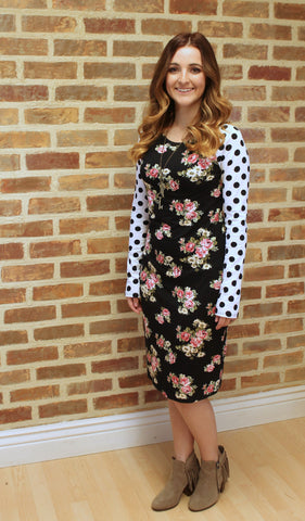 Floral and Polka Dot T-Shirt Dress