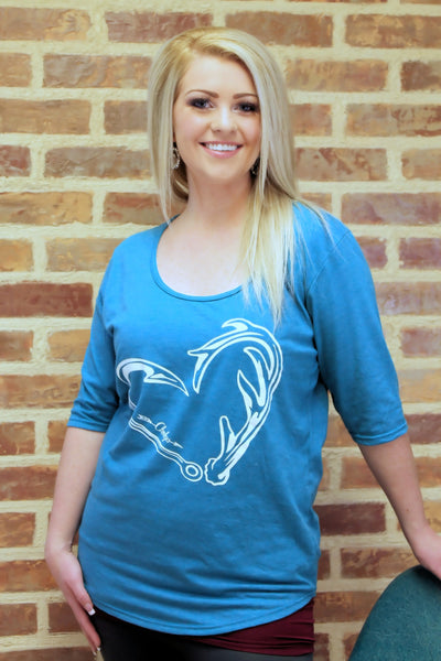 Clay Blue Hunter's Heart Quarter Sleeve Shirt