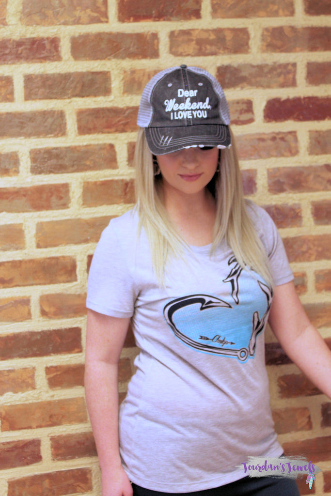 Turquoise Hunter's Heart on Grey Short Sleeve
