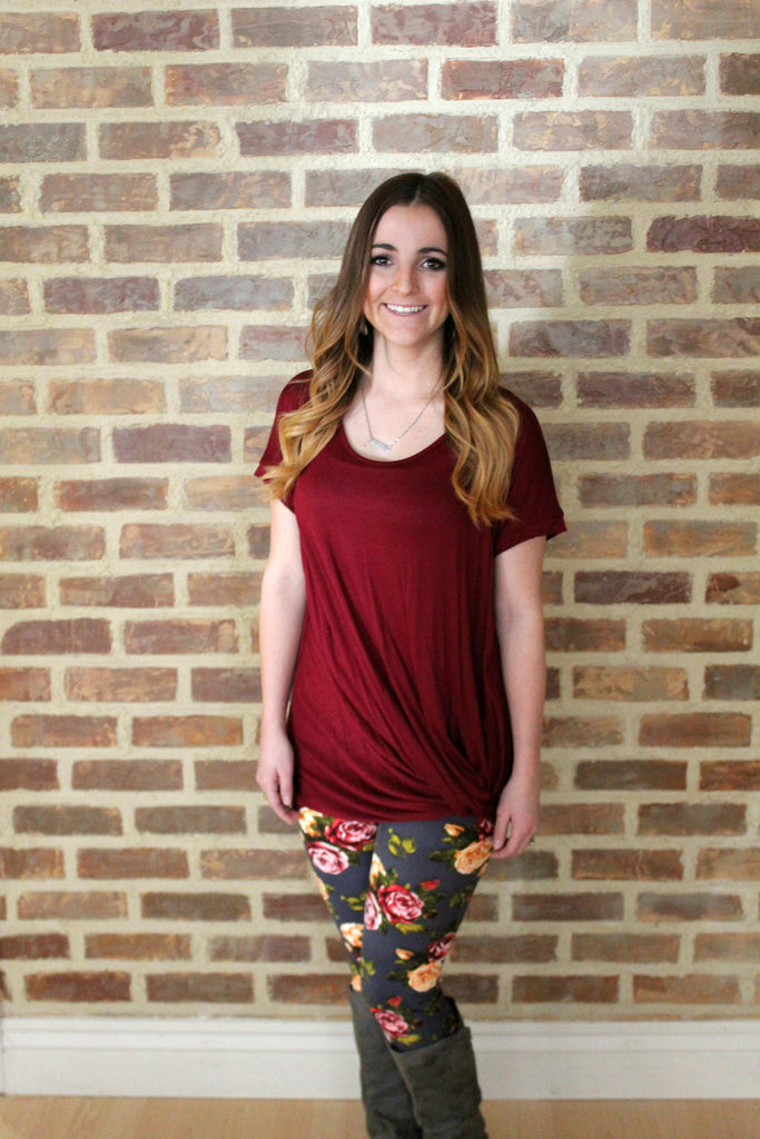 Knotty Top Short Sleeve - Burgundy - Jourdan's Jewels